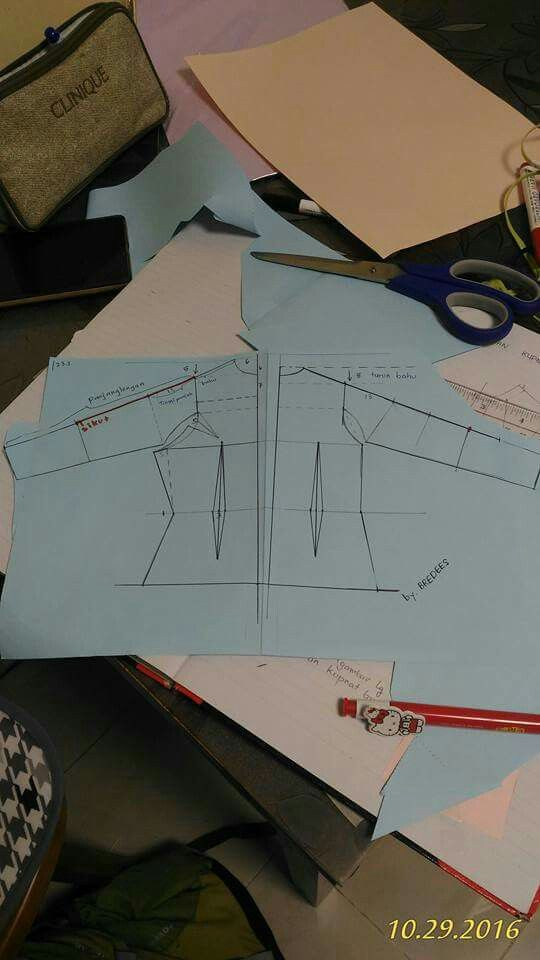 Tetap memakai pola dasar. Hanya turun bahu dirubah menjadi 5cm. Lebar muka dan lebar punggung masing2 dikurangi 1cm. #7