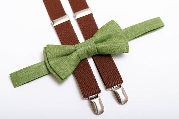 Green bow tie & Brown suspenders Boys suspenders #weddings #accessories @EtsyMktgTool #suspendersbowtie #bowtiesuspenders #boysbowtie