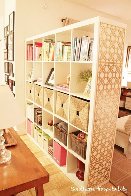 Metal radiator grids on the end of the book shelf...what a great way to add a little style!