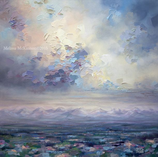"""Fondness For Grey"" 36""x36"" MELISSA MCKINNON Contemporary Abstract Landscape Artist features BIG COLOURFUL PAINTINGS of Aspen & Birch Trees, Rocky Mountains and stunning views of the Canadian prairies, big skies and ocean beaches. Western Art."