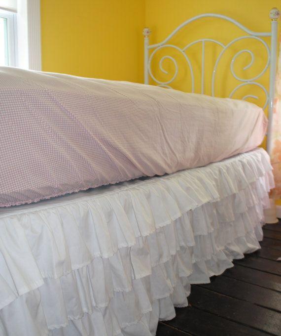 White Ruffle Bed Skirt Twin or Full by PaulaAndErika on Etsy