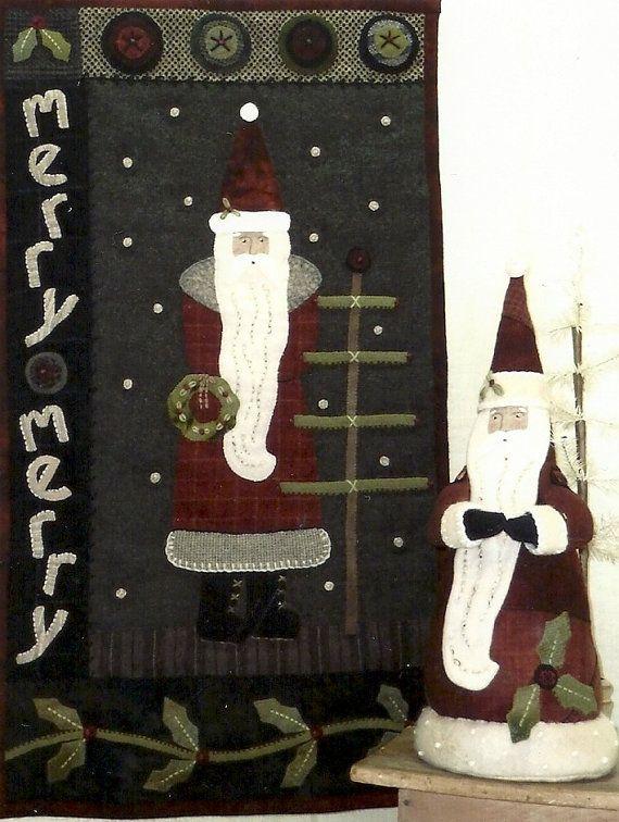 Primitive Folk Art Wool Applique Pattern Merry Merry