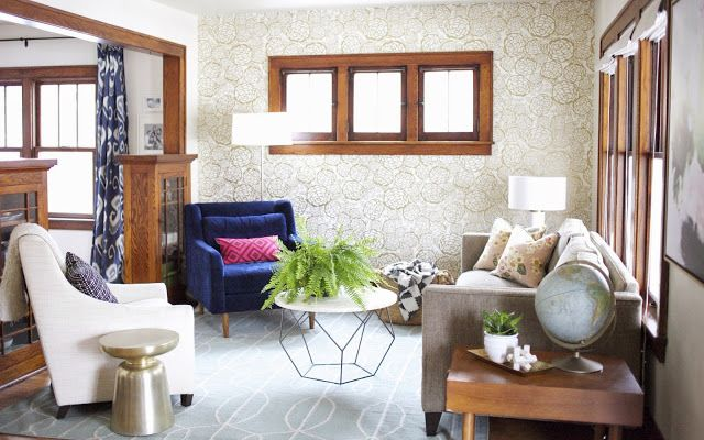 Living Room //  Oh Joy Petal Pusher Wall Paper in gold, Lindsay Letters abstract art, midcentury, wood trim, brown woodwork, West Elm chair, West Elm coffee table @lindsay_letters @westelm @ohjoy