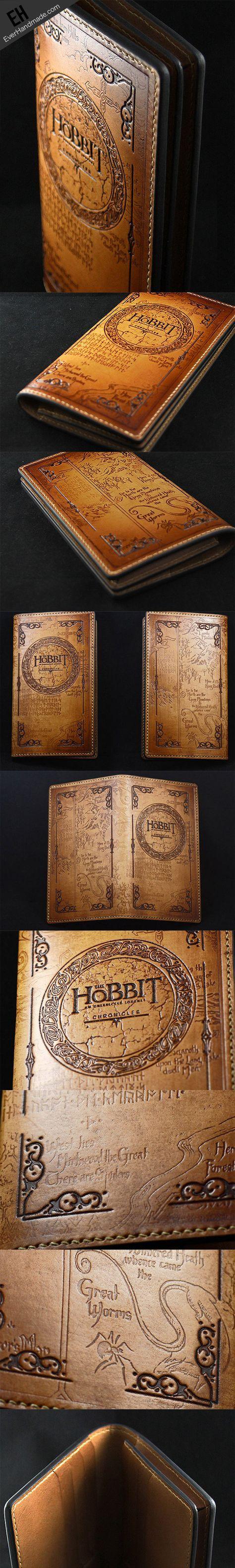 Handmade leather men wallet Hobbit carved leather custom long wallet w/card ID holder for men