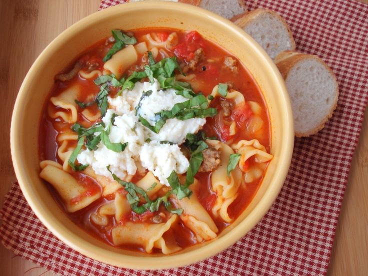 lasagna soup with ricotta | Soupy goodness | Pinterest