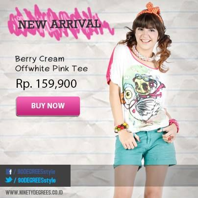 Perfectly casual with Berry Cream Offwhite Pink Tee. Grab it fast girls >> www.ninetydegrees.co.id