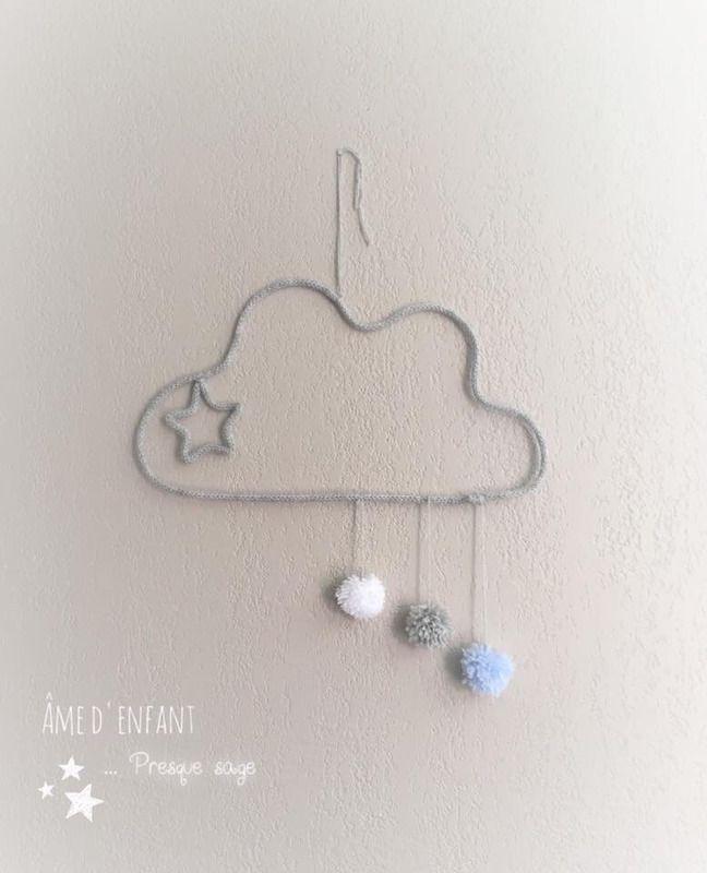 Nuage et pluie de PomPom en tricotin - decoration murale - ame d'enfant presque sage - Fait Maison