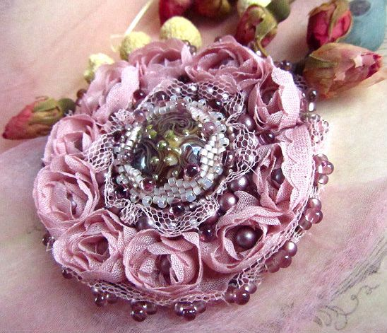 Dust of Roses MADE TO ORDER Brooch by kozimoart on Etsy, $42.00