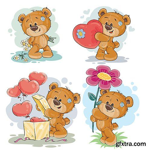 Clip art illustrations of teddy bear » Vector, Photoshop PSDAfter Effects, Tutorials, Template, 3D,
