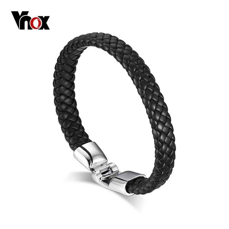 Vnox vintage mens leather bracelet braided wristband black white coffee   – Products