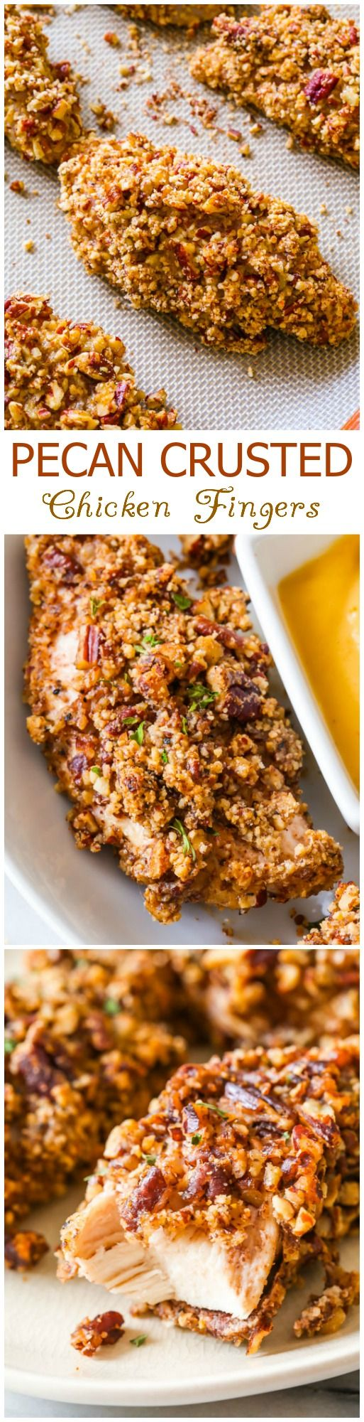 Pecan Crusted Chicken Fingers-- baked, not fried! Crunchy, nutty, toasty, delicious!