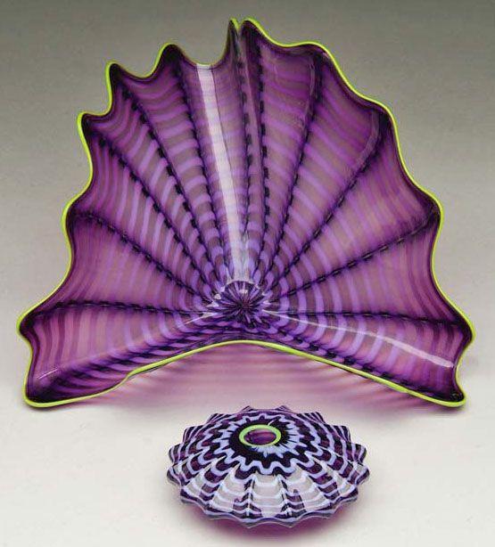Dale Chihuly Art | Art Glass | Chihuly (Dale) Bowls (2) Purple Striping 5 & 12