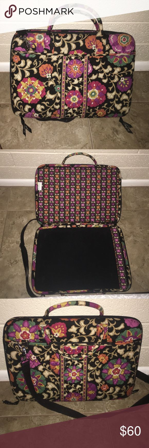 Vera Bradley Laptop Hardcase Suzani Style It is adjustable for many different sized laptops, black strap. Has only been used a few times. Vera Bradley Bags Laptop Bags