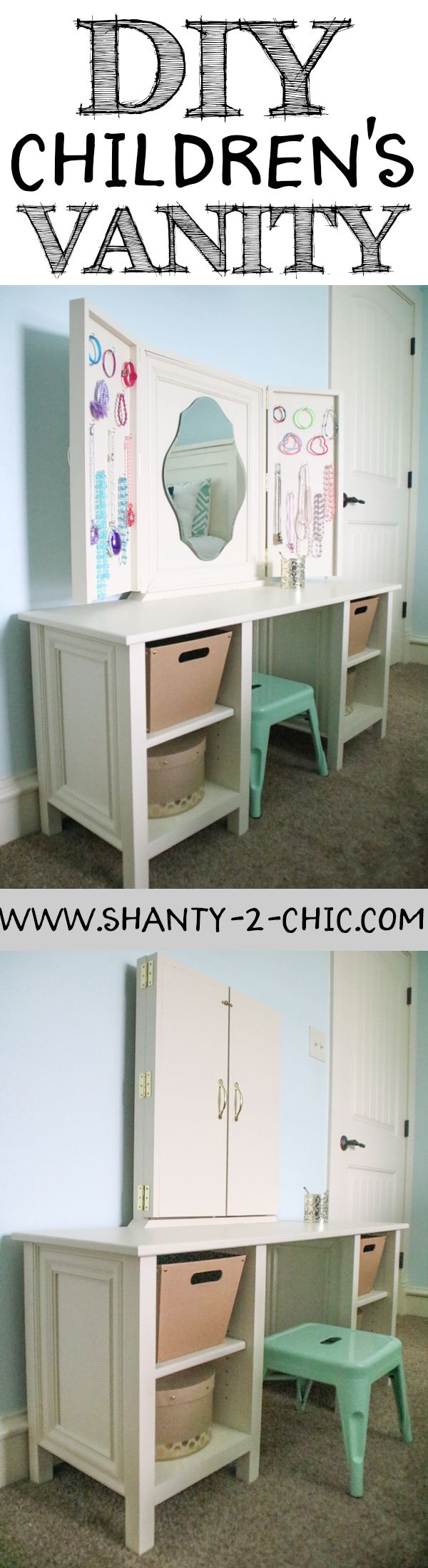 Build a quality, custom children's vanity for less than you can find one in stores! Use the free plans from www.shanty-2-chic.com to build a high end children's vanity!