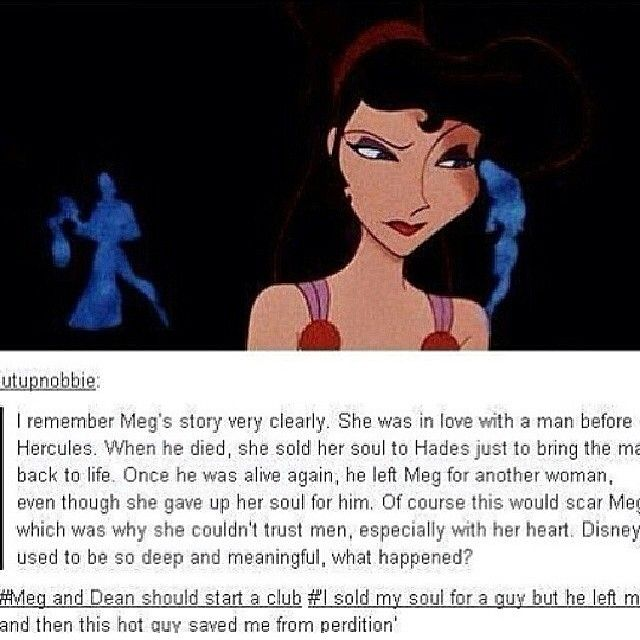 Meg [Hercules] Dean [Supernatural] comparison. Anything and everything somehow relates to Supernatural. I love it,