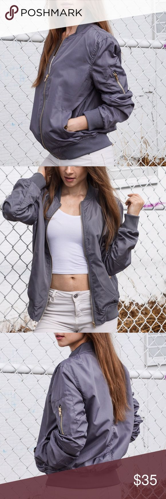 Grey bomber jacket Brand new grey bomber jacket! Jackets & Coats