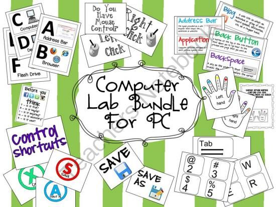 Computer Lab Bundle Pack Giveaway - Does your computer lab need some updating. This file includes everything you need to decorate your computer lab, including a word wall, giant keyboard, computer alphabet, and wall signs. .  A GIVEAWAY promotion for Computer Lab Bundle Pack for PC from Elementary Techie Teacher on TeachersNotebook.com (ends on 3-14-2014)