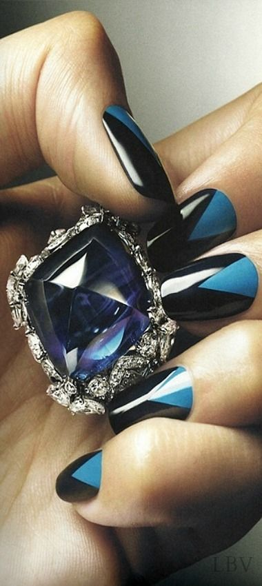 Accessories for the evening....Diamond ring and fab nails | LBV S14 ♥✤