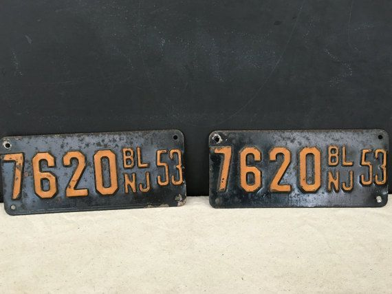 This listing is for a NJ boat license plate pair from the 1953. Theyre great for a man cave, bar, or to add to a collection!  They are in good condition with some some rust and surface dirt. Please see all photos for their condition.  Measures: 8 x 3 1/2  Check out our many other
