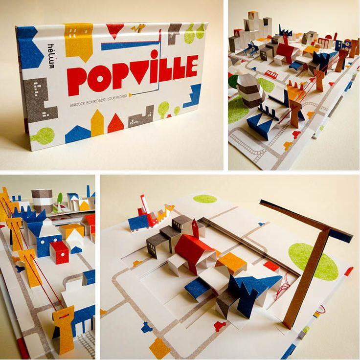 popville par louis rigaud 2009 livre animé, pop up ,illustration,volume, découpe laser
