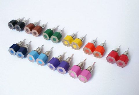 color pencil ear studs, the hexagon version in candy colors (set of 10 pairs): Pencil Ears, Ears Studs, Candy Colors, Hexagons Version, Pencil Earrings, Colour Pencil, Color Pencil, Hair Sliding, Colored Pencils