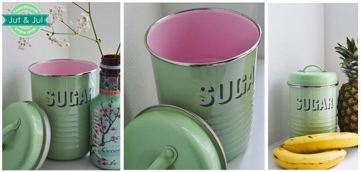 Jut  Jul - Collectie - Mintgroene suikerpot met knalroze binnenkant, perfect voor een speelse aankleding van je keuken