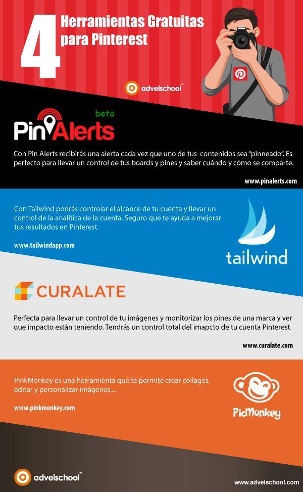 Hola: Una infografía con 4 herramientas gratuitas para Pinterest. Vía Un saludo