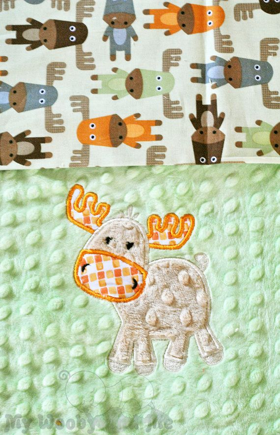 Personalized baby Blanket - Minky baby Blanket - You Choose Fabrics and Colors - Applique Moose and Name Included - Size Choice