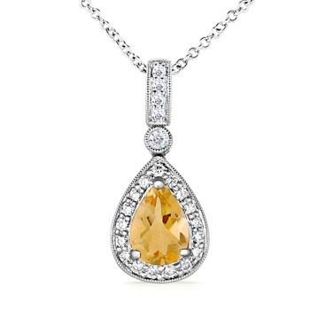 Angara Vintage Style Pear Citrine Drop Pendant with Diamonds 7BX8eC7RZT