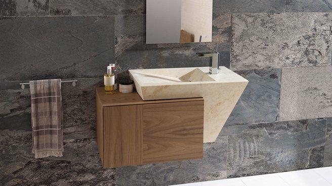 10 inspirations pour une salle de bains design // http://www.deco.fr/diaporama/photo-10-inspirations-pour-une-salle-de-bains-design-73125/vasque-salle-de-bains-destrcturee-1036683/#slideshow_trans