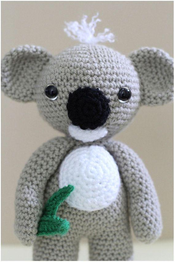 "Crochet Amigurumi Soft Toy Plush Koala KC by HelloYellowYarn approx 10"" tall"