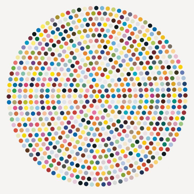 Zirconyl-Chloride by Damien Hirst, Household-gloss on canvas 84 inches diameter, ca. 2008