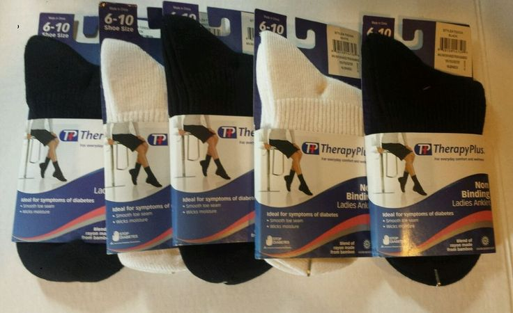 Ladies Diabetic Socks Lot of 5 Black White Therapy Plus Anklet Ankle She Sz 6-10 #TherapyPlus