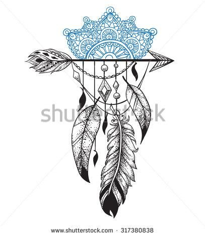 Arrow in ethical pattern with feathers and mandala in style tattoo Dotwork