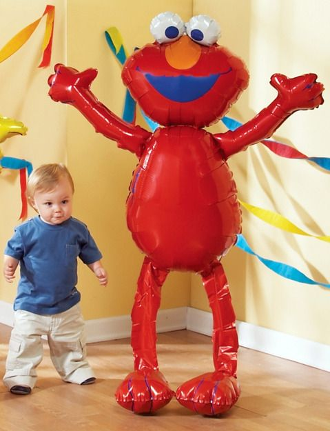 Walking Elmo Balloon, we had this at my son Dylan's 1st birthday party and it was hillarious and cute.