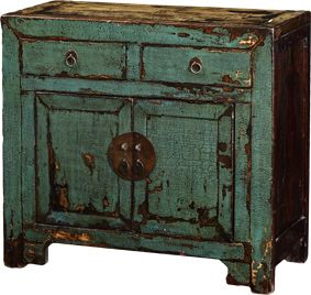Green Wooden Cabinet with 2 Drawers - Poppy's Home & Garden