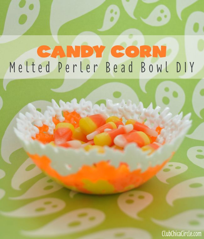 Candy Corn Inspired Melted Bead Bowl Tutorial | Club Chica Circle - where crafty is contagious