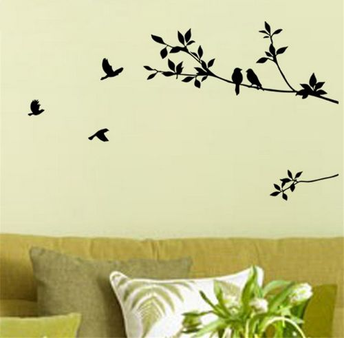 Birds Gather on a Branch Wall Decals