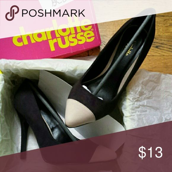 Black Faux Suede, Cream Cap Toe Colorblock Pumps Black Faux Suede, Cream Cap Toe Colorblock Pumps Size: 8  Brand: Charlotte Russe  RP: $30  New In Box Charlotte Russe Shoes