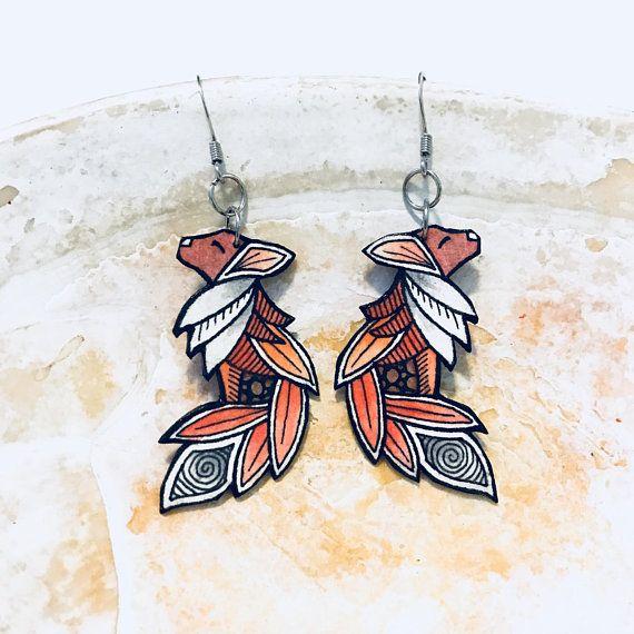 Hand Painted Zentangle Red Fox Earrings Fox Jewelry