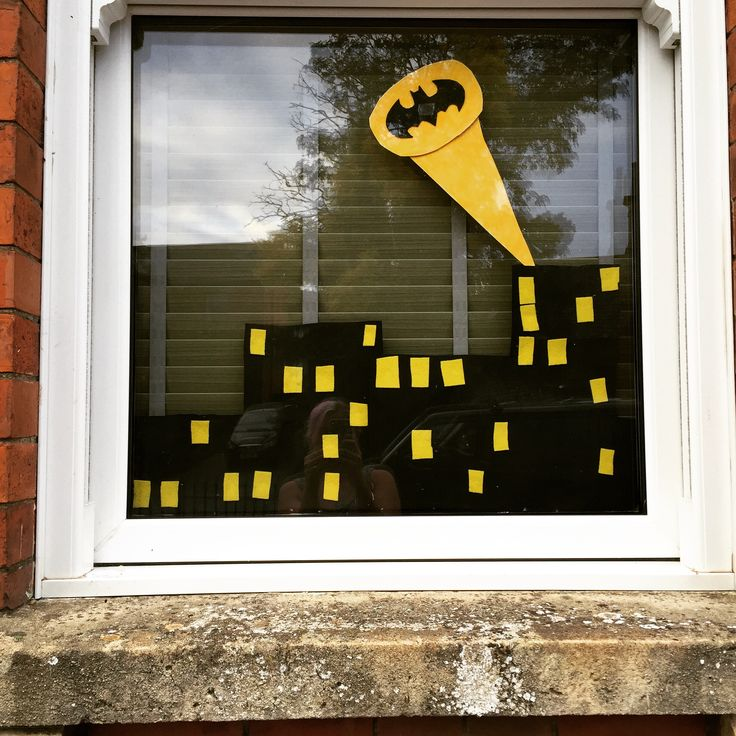 Our Gotham city window display! Using up our superhero party food backdrop. Very easy. Details on my blog. https://pinkpearbear.wordpress.com