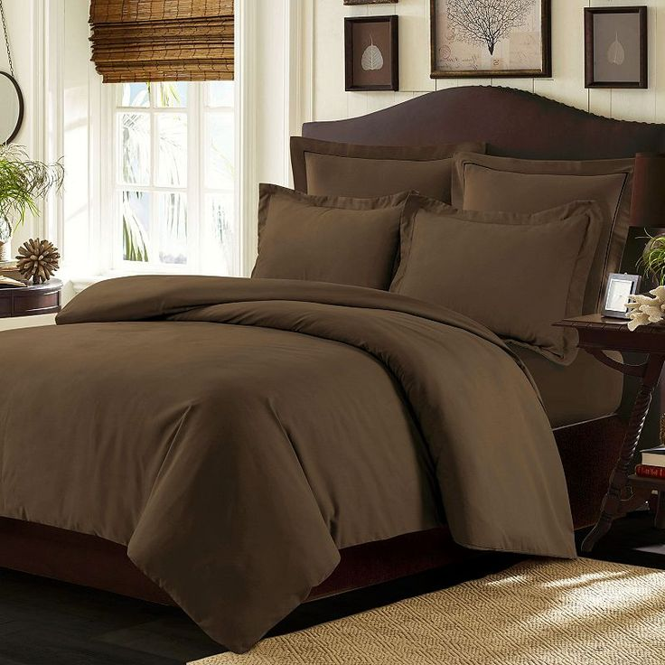 Tribeca Living Valencia Solid Duvet Cover Set, Brown
