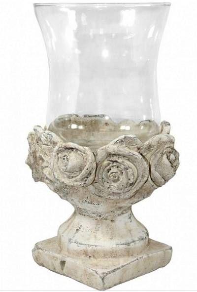 Svícen z kameniny a skla