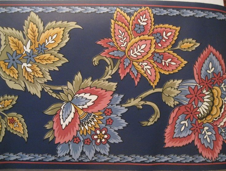Details about WALLPAPER BORDER Jacobean Floral Flower Navy