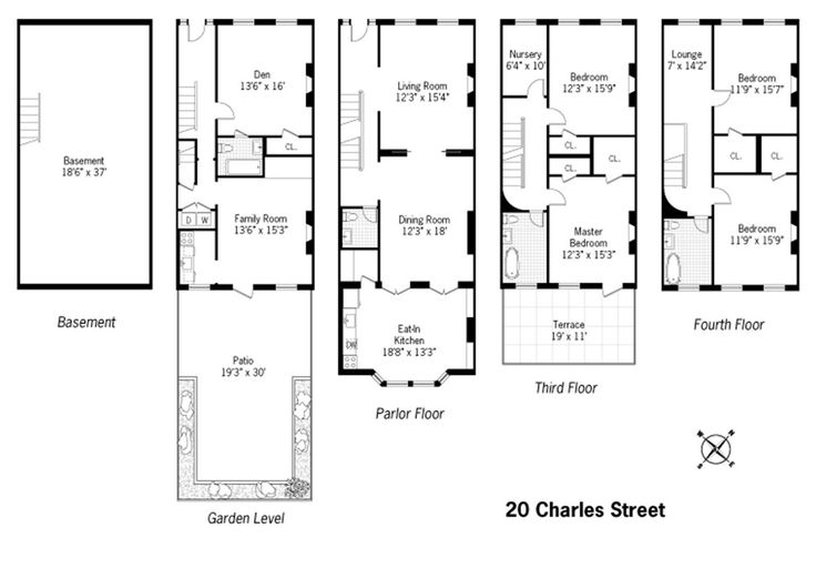 14 best brownstone floorplans images on pinterest for for Brownstone townhouse plans