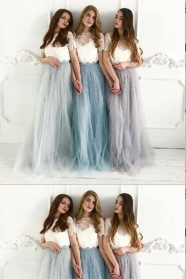 Hot Sale Absorbing Bridesmaid Dresses For Cheap, Modest Bridesmaid Dresses, Lace Bridesmaid Dresses, Blue Bridesmaid Dresses