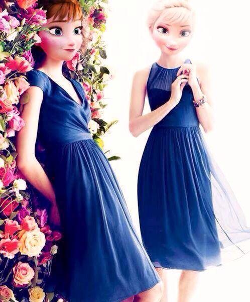 anna and elsa in bridemaids dresses frozen pinterest