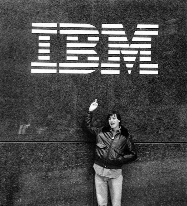 Steve Jobs giving IBM the finger in 1983