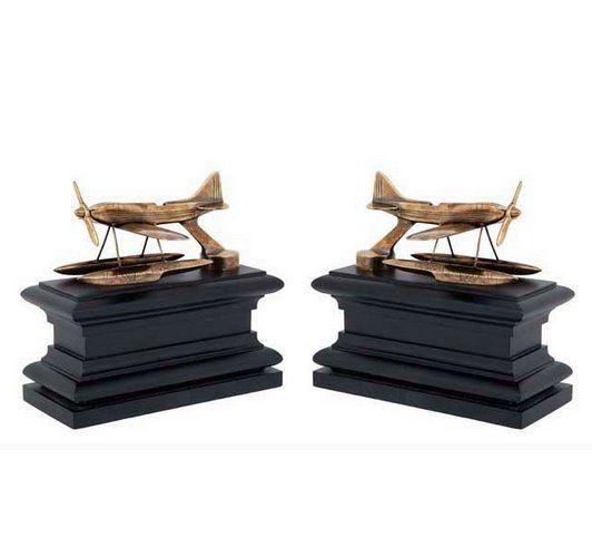 Bokstöd mässing. Bookends brass, aitplane. www.longcoastliving.se