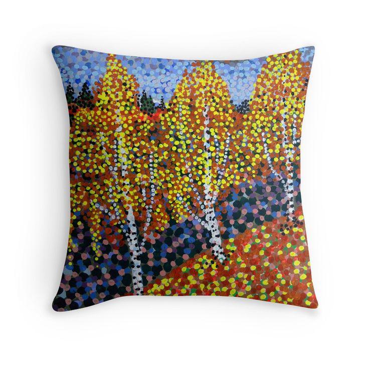 'Autumn Birches' throw pillow design @redbubble #interiordesign #finnishdesign #paintings #artist #art #konst #taide #neopointillism #homedeco #cushions #pillows #redbubble #exclusive